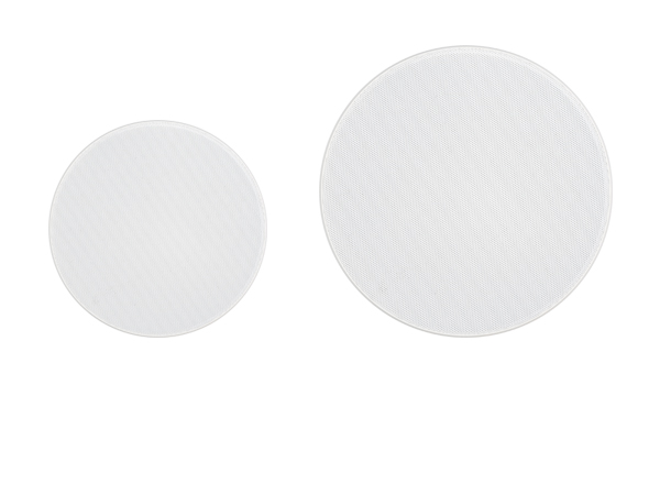 Round wall and ceiling speaker grilles in various sizes.